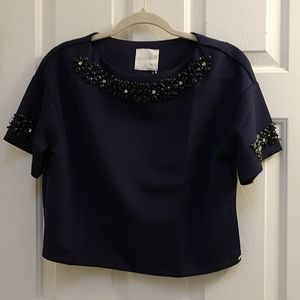 NWT Line & Dot Navy flower beaded crop style top